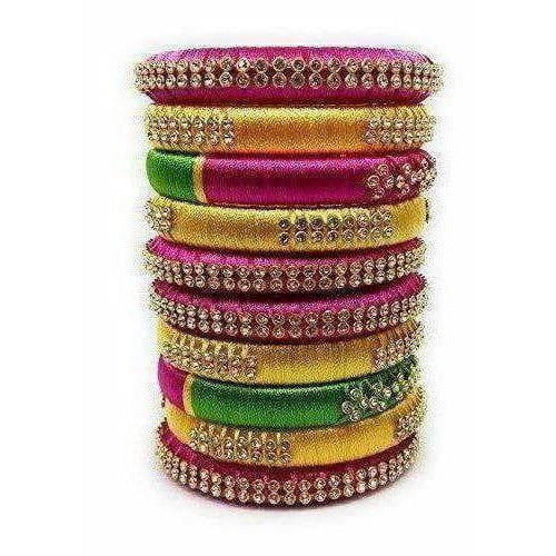 Handmade Silk Thread Colour Combination with Bangle Pink, Yellow & Green - Dista Cart