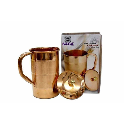 SAGA Pure Copper Water Jug With Handles And Lid-Health Improvement - Dista Cart