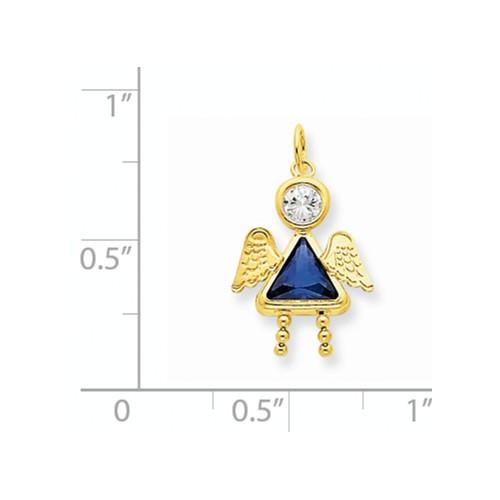 14k September Girl Angel Birthstone Charm - Pendant - Aydins_Jewelry