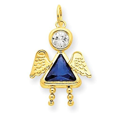 Image of 14k September Girl Angel Birthstone Charm - Pendant - Aydins_Jewelry