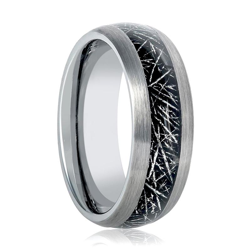Aydins Mens Tungsten Wedding Band Ring w/ Black Meteorite Inay 8mm Tungsten Carbide - Rings - Aydins_Jewelry