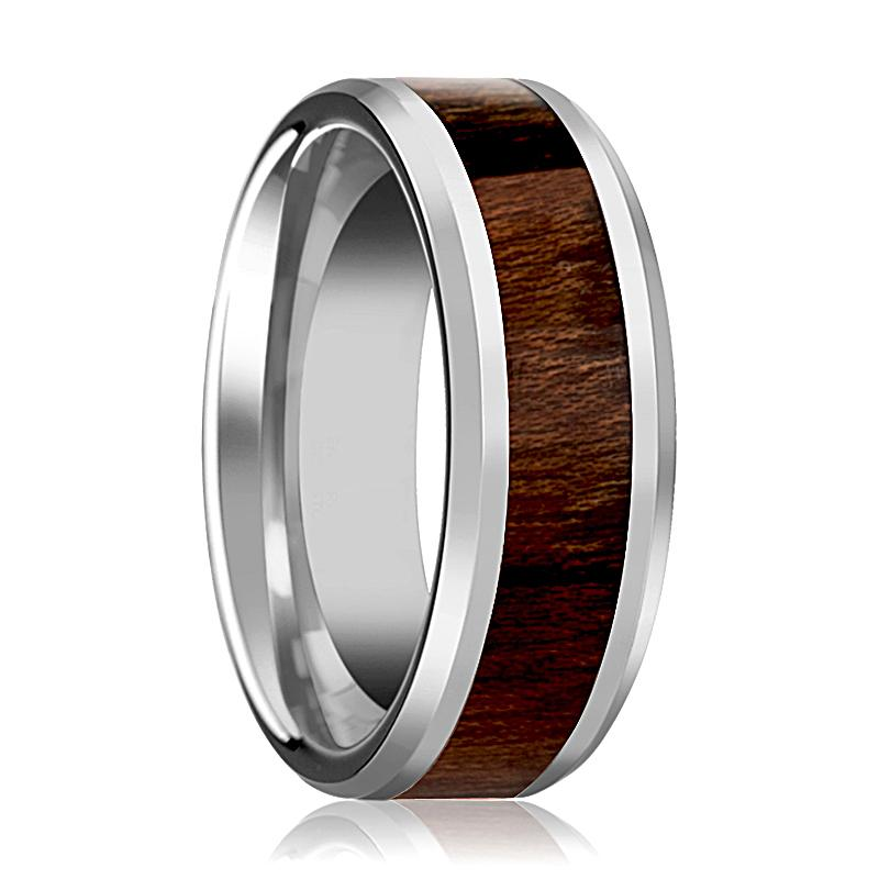 Carpathian Wood Inlaid Silver Tungsten Wedding Ring for Men with Beveled Edges - 8MM - Rings - Aydins_Jewelry