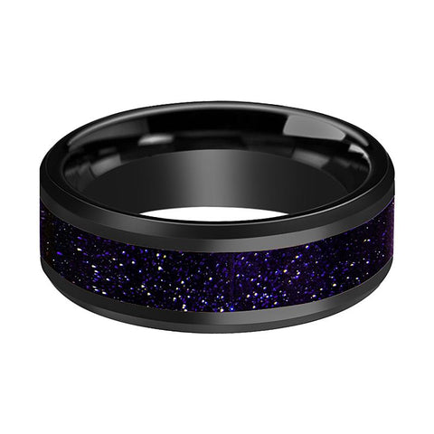 Image of EZRA Polished Black Ceramic Beveled Ring With Purple-Gold Stone Inlay - Rings - Aydins_Jewelry