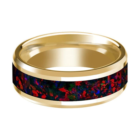 14K Yellow Gold Polished Beveled Wedding Ring Black and Red Opal Inlay - Rings - Aydins_Jewelry