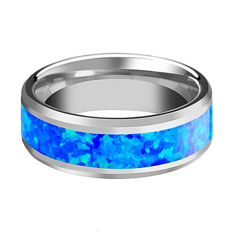 Image of BENJAMIN Blue Green Opal Inlay Tungsten Wedding Band Polished Finish - Rings - Aydins_Jewelry