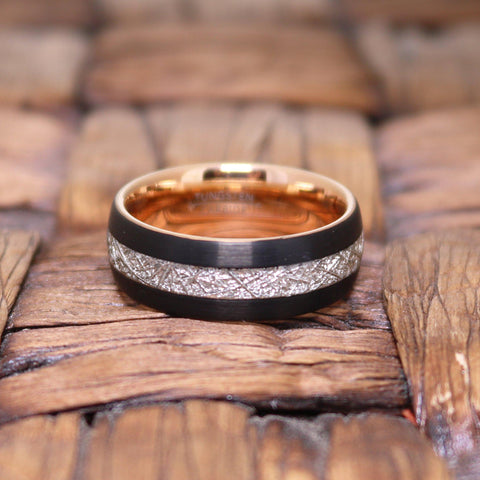 Rose Gold & Black with Meteorite Inlay Tungsten Mens Ring 8mm Tungsten Carbide Wedding Band