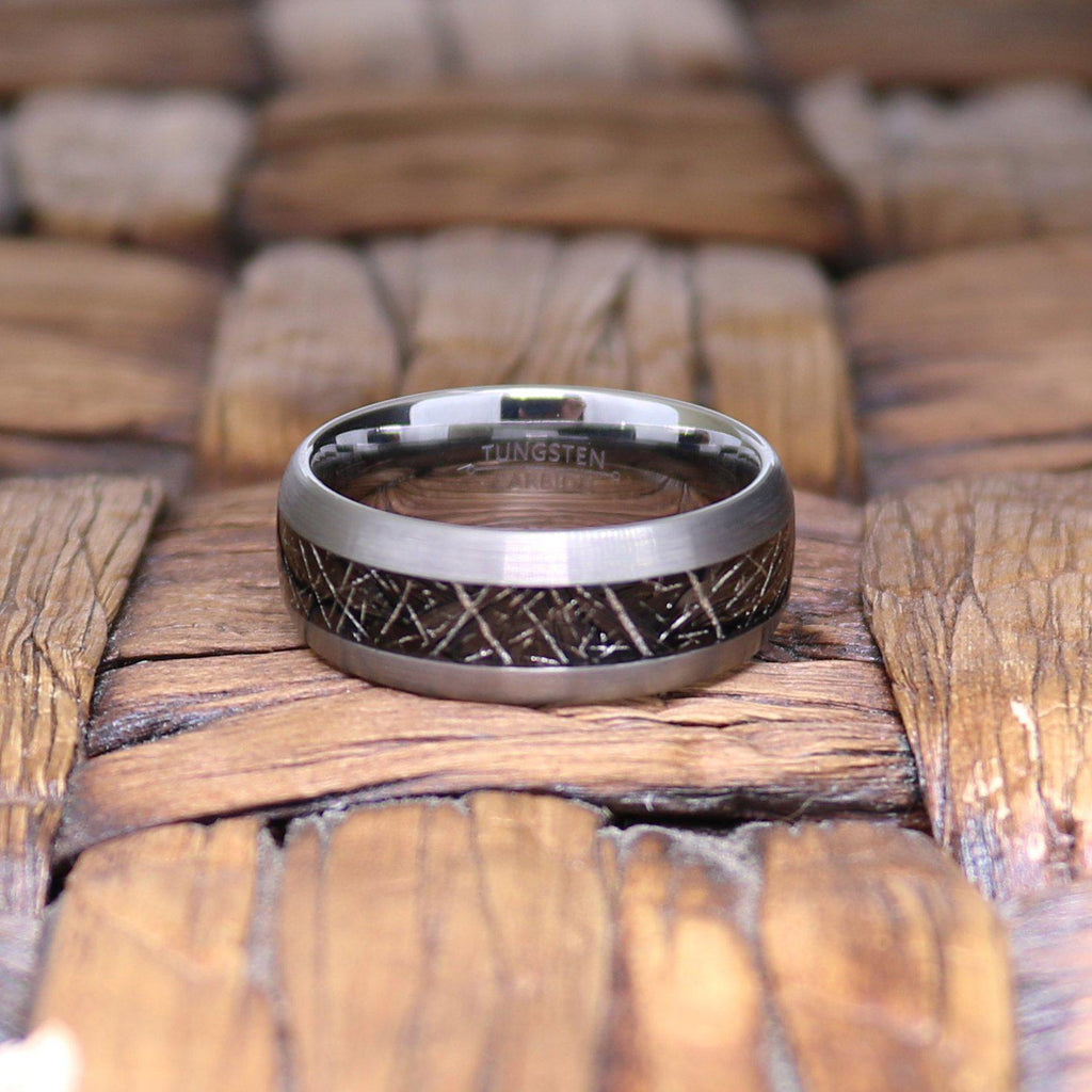 Men's Tungsten Wedding Band with Black Meteorite Inlay and Domed Edges - 8MM