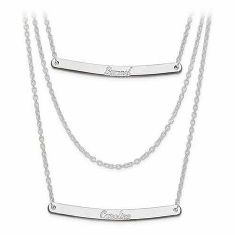 Image of Sterling Silver Brushed Or Polished 3 Chain 2 Bar Name Necklace - AydinsJewelry