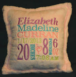 "Custom Embroidered 15"" Birth Announcement Pillow"