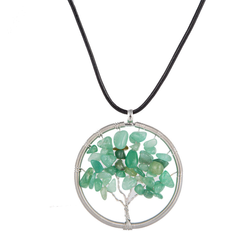 Natural Gemstone Tree of Life Pendant Necklace - 4 Chakras