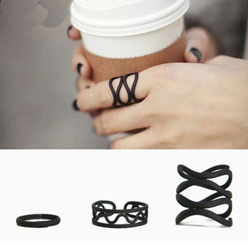 Simple, Black Ring Set - 3 rings