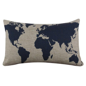 Linen World Map Pillow Case