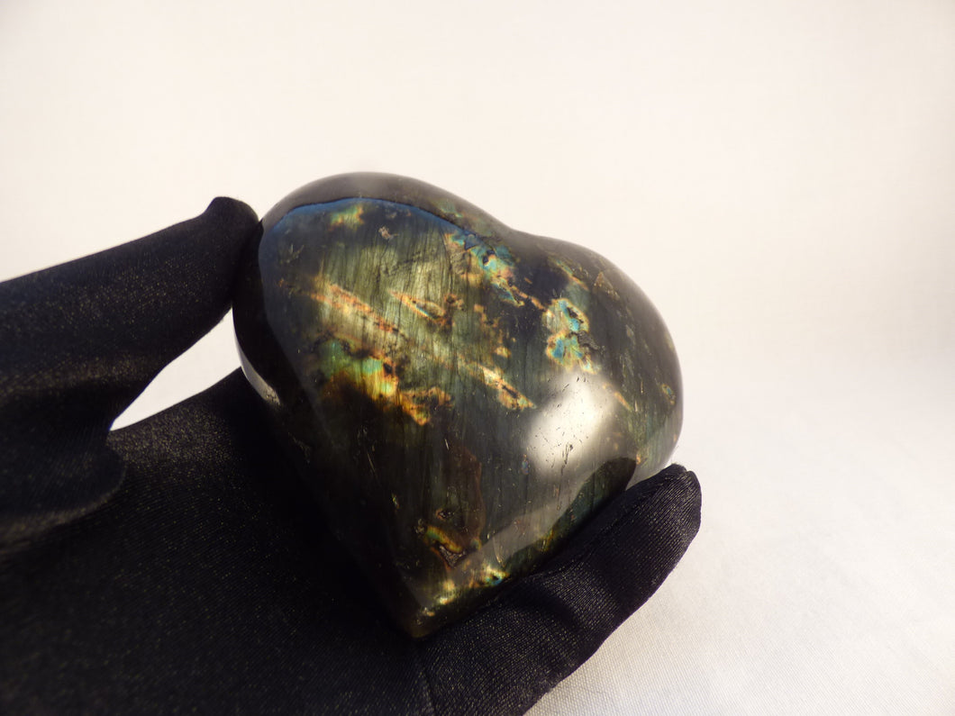 Polished Labradorite Heart Carving - 97mm, 385g
