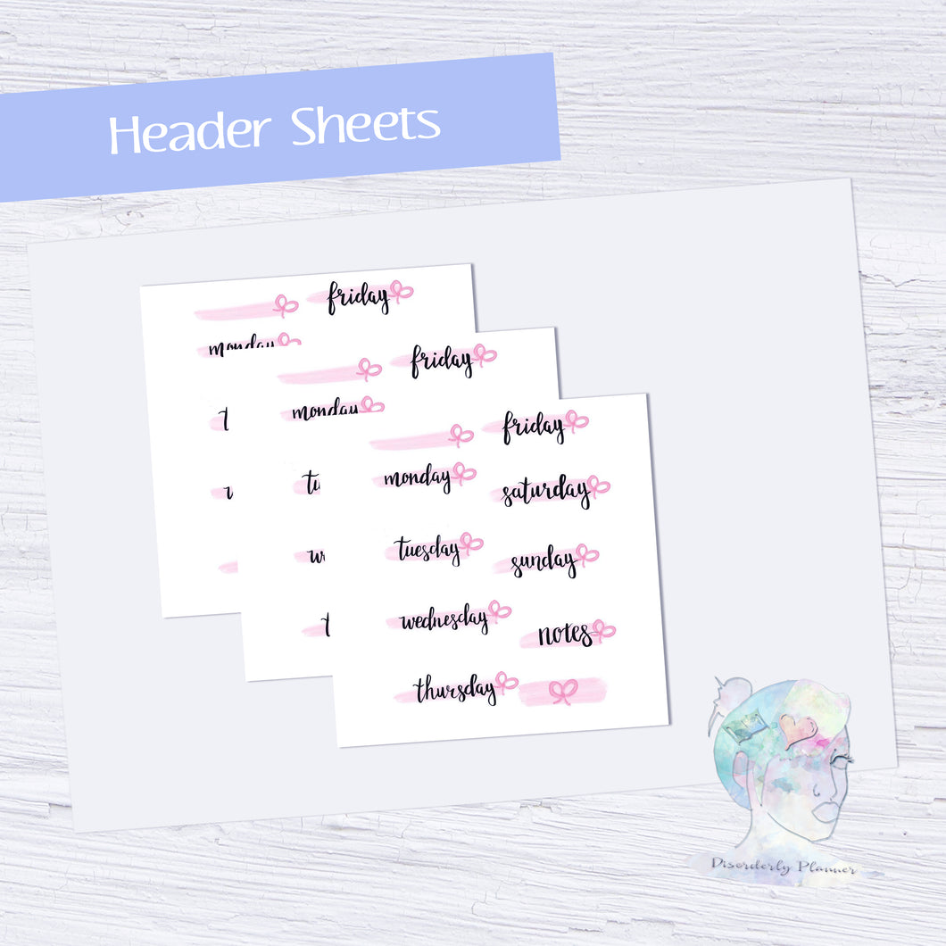 Original Handlettered Weekday Script Functional Stickers - Headers - bows