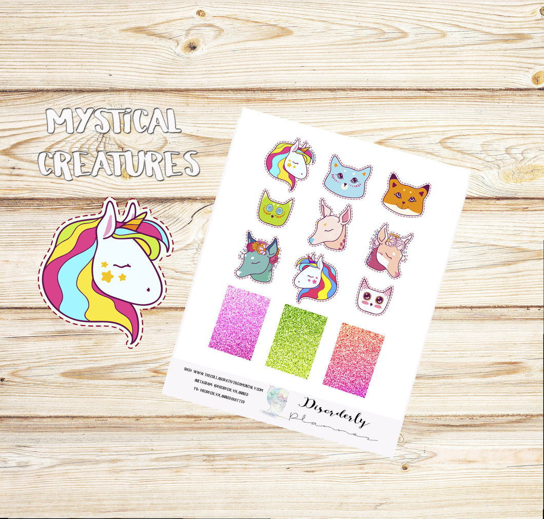 Cute - Unicorn Stickers - Gifts under 10 -  Rainbow stickers - Mystical Creatures Stickers - Fox Stickers -Planner stickers - Erin Condren