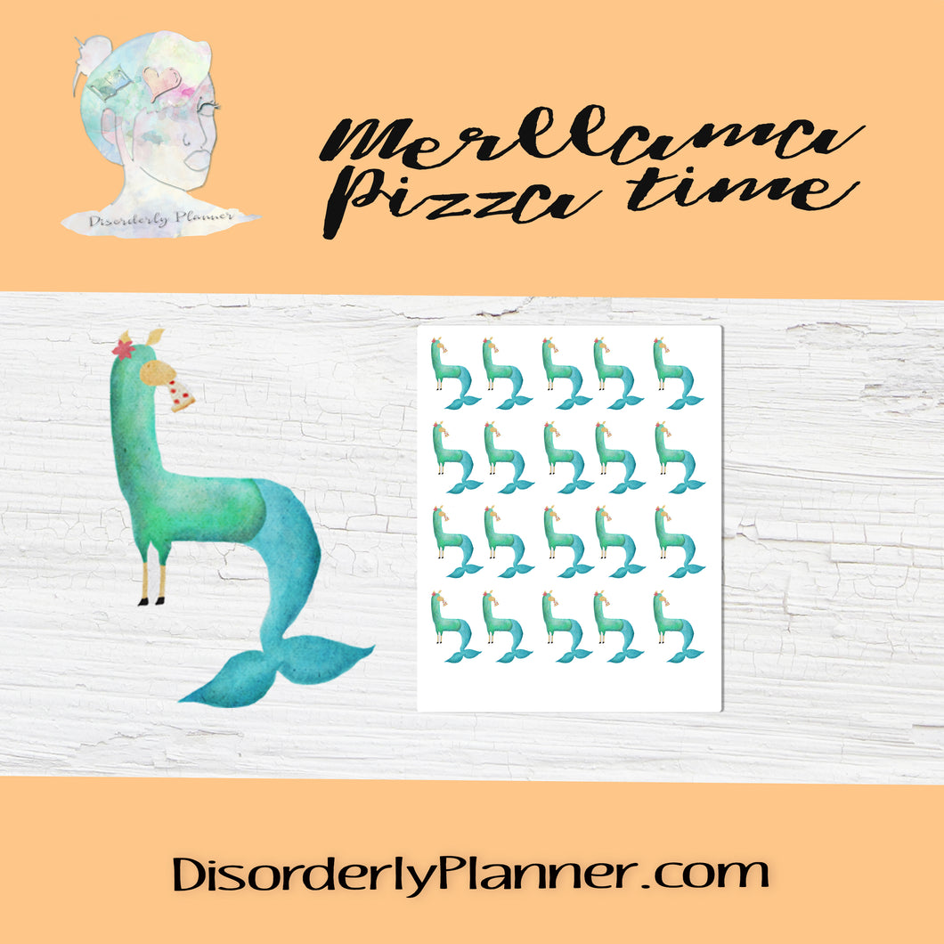 Merllama Activities - Character Stickers - Pizza Time!