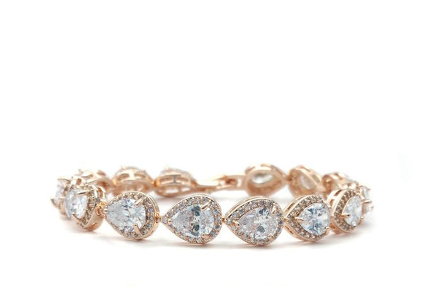 Melissa - CZ Tear Drop Bracelet (Rose Gold)