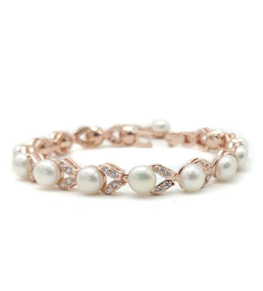 Simone - Freshwater Pearl and CZ Bracelet  (Rose Gold)