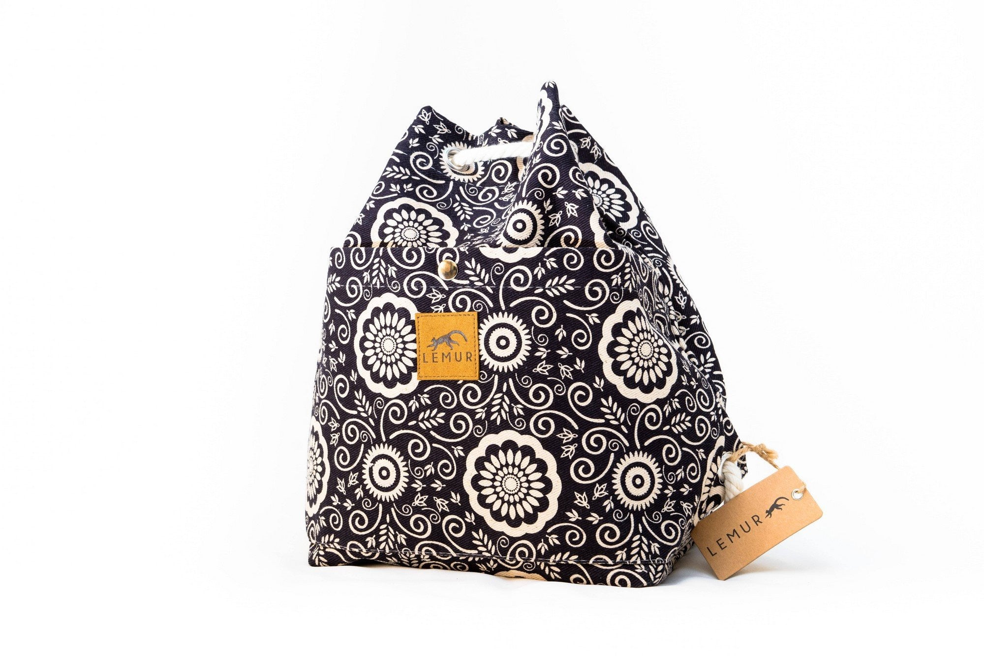 Canvas Travel Daypack - Canvas Travel Daypack - Rope Drawstring Cinchsack By Lemur Bags (Floral)