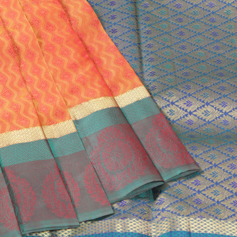 Terramart Silk Sarees - Graceful Fluorescent Orange Colour Color Saree with Bluish Green & Gold Border