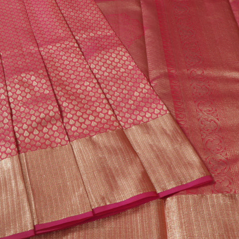 Terramart Silk Sarees - Gorgeous Look Full Pink color butta Saree full body zari with Gold Colour Border