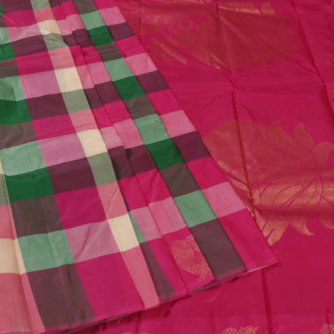 Terramart Silk Sarees - Attractive Multicolour-Gray, Dark Green, Light Green, Violet, Pink, Sandal Checks with Peacock Design & No Bordar Saree