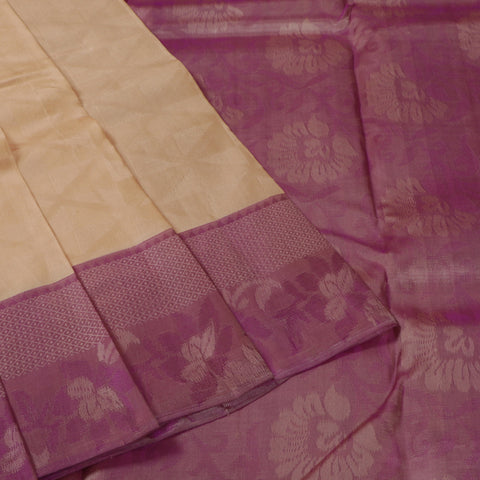 Terramart Silk Sarees - Neat Look Mild Sandal Colour Saree with Violet Colour Border