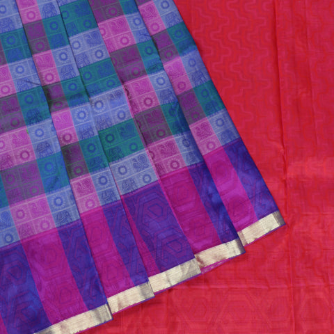 Terramart Silk Sarees - Classic Multicolour Saree-Purple, Green, Blue, Red with thin Gold colour Border