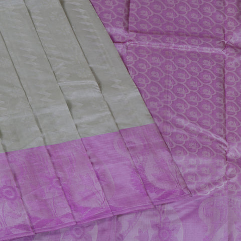 Terramart Silk Sarees - Unique Light Olive Green Colour Saree with Violet & Silver Colour Border