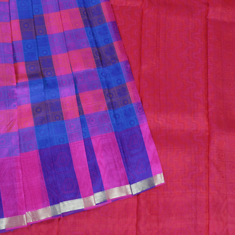 Terramart Silk Sarees - Classic Multicolour Saree-Pink, Blue, Violet, Red with thin Gold colour Border