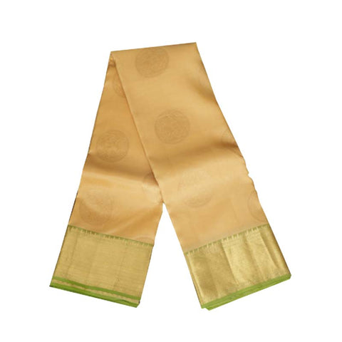 Terramart Silk Sarees - Round Butta Designer Sandal color Saree with Parrot Green & Gold Colour Border