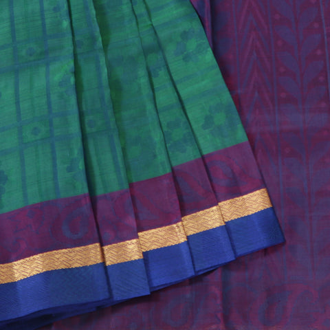 Terramart Silk Sarees - Exclusive Greenish Blue Color Saree with Purple, Gold & Blue Colour Border