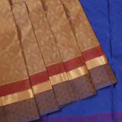 Terramart Silk Sarees - Alluring Light Brown, Sandal Color Saree with Blue, Pink & Gold Colour Border