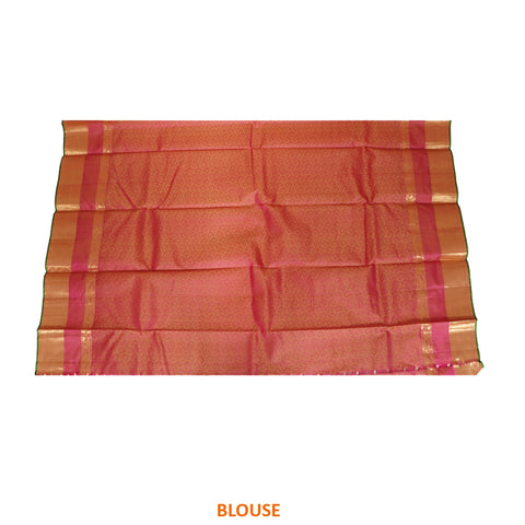 Terramart Silk Sarees - Beautiful Shiny Goldish color Saree with Pink, Green & Gold Colour Border