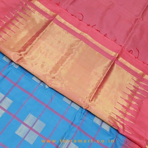 Terramart_Exclusive Soft Silk Pure Pattu Saree for Women / Girls (Sky Blue, Tomato Pink & Gold)