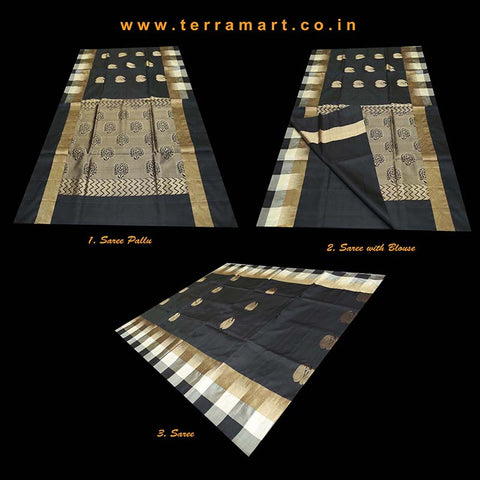 Terramart_Exclusive Soft Silk Pure Pattu Saree for Women / Girls (Black, Sandal & Gold)