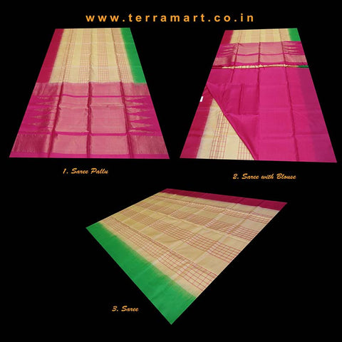 Terramart_Exclusive Soft Silk Pure Pattu Saree for Women / Girls (Sandal, Pink, Green & Gold)