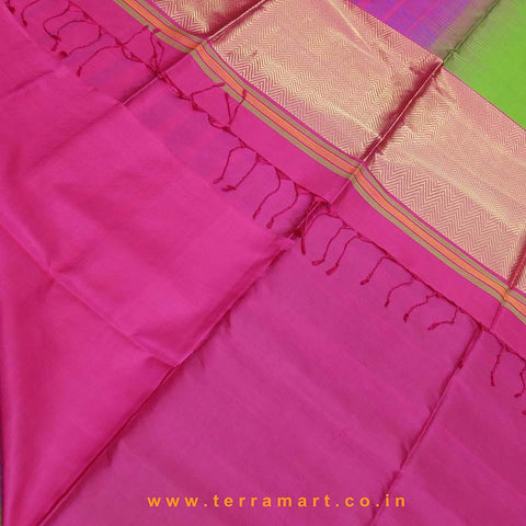 Terramart_Exclusive Soft Silk Pure Pattu Saree for Women / Girls (Parrot Green, Pink, Violet & Gold)