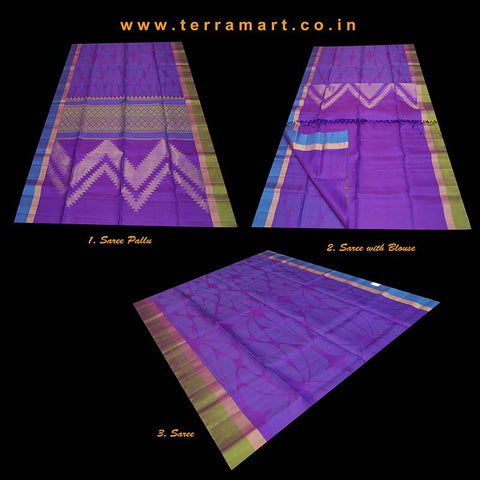 Terramart_Exclusive Soft Silk Pure Pattu Saree for Women / Girls (Violet, Olive Green, Peacock Blue & Gold)