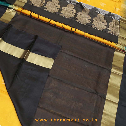 Terramart_Exclusive Soft Silk Pure Pattu Saree for Women / Girls (Black, Magenta, Mango Yellow, Green & Gold)