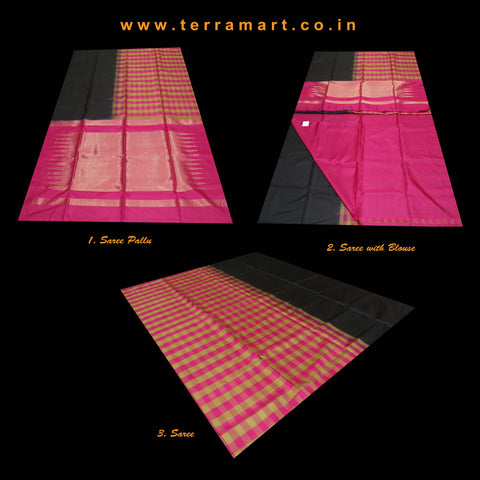 Terramart_Exclusive Soft Silk Pure Pattu Saree for Women / Girls (Black, Pink, Mustard & Gold)