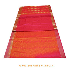 Terramart_Exclusive Art Pattu Saree for Women / Girls ( Pink, Orange & Gold)