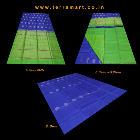 Terramart_Exclusive Soft Silk Pure Pattu Saree for Women / Girls (Ink Blue, Parrot Green & Gold)