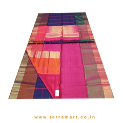 Terramart_Exclusive Soft Silk Pure Pattu Saree for Women / Girls (Navy Blue, Pink, Orange, Green & Gold)