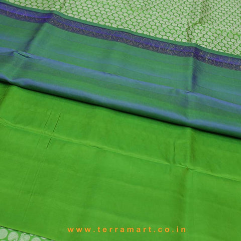 Terramart_Exclusive Silk Pure Pattu Saree for Women / Girls (Parrot Green, Blue, Silver & Gold)