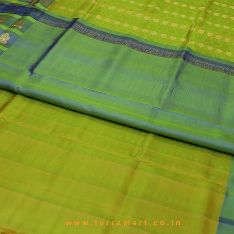 Terramart_Exclusive Silk Pure Pattu Saree for Women / Girls (Shiny Olive Green, Blue & Gold)