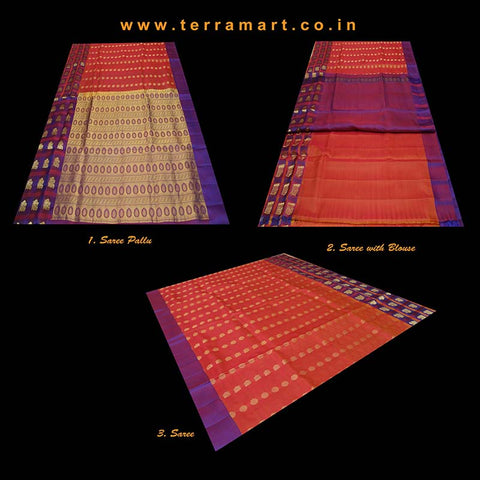 Terramart_Exclusive Silk Pure Pattu Saree for Women / Girls (Red, Violet & Gold)