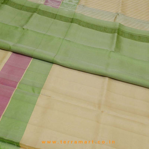 Terramart_Exclusive Silk Pure Pattu Saree for Women / Girls (Sandal, Pink, Shiny Green & Gold)