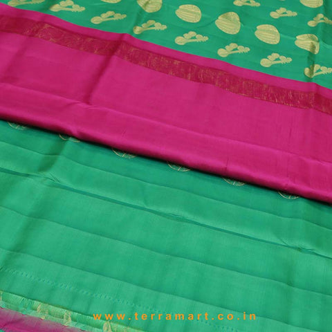 Terramart_Exclusive Silk Pure Pattu Saree for Women / Girls (Parrot Green, PInk & Gold)