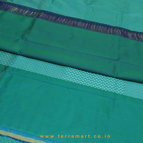 Terramart_Exclusive Silk Pure Pattu Saree for Women / Girls (Peacock Green, Blue, Green & Gold)